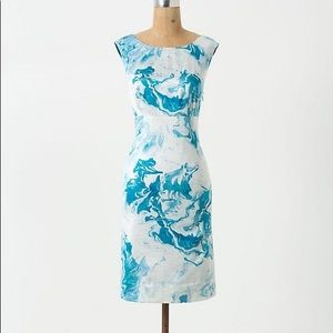 Anthropologie Maeve Marbled Waters Shift Dress